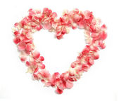 Flower Petals forming a heart shape — Stock Photo