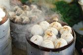 Chinesisches essen-fachgebiete - gedämpfte teigtasche — Stockfoto