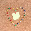 Post-it note in the heart-shaped pins — ストック写真