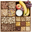 Stock Photo: Assorted cereals with fruits and milk