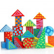 Colorful wooden block houses — Stock Photo