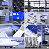 Airport and travel collage — Stock Photo