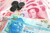Chinese Yuan vs Hong Kong Dollars — Stock Photo