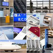Air travel collage — Stockfoto