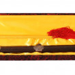 Chinese traditional double sword in silk box, isolated — Stock Photo #24041401