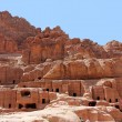 Cave dwellings in the ancient city of Petra, Jordan — Stock Photo
