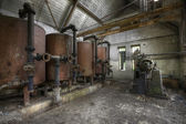 Interiors of an abandoned factory — Stock Photo