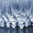 Rows of empty wine glasses in duo color version — Stock Photo