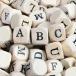 "Wood letter blocks with focus on ""ABC"" — Stock Photo"