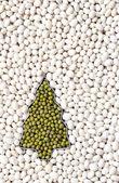 Green beans in tree shape among white beans — Stock Photo