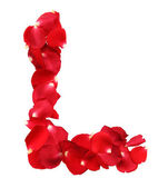 Alphabet L formed by red rose petals on white background — Stock Photo