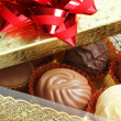 Close-up of a box of assorted chocolates — Stock Photo
