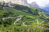 Curvy motor way at the Gardena Pass — Stock Photo
