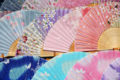 Japanese traditional silk fans — Stock Photo