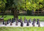 Chess field in a garden — Stock Photo