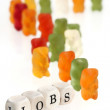 Gummy Bear series - lining up for jobs (conceptual) — Stock Photo