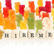 Stock Photo: Gummy Bear series - seek for jobs (conceptual)