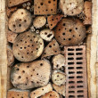 Details of a Wild bee hotel — Stock Photo