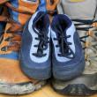 Hiking shoes from father, mother and baby — Stock Photo