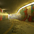 Stock Photo: Dirty pedestriunderpass with graffitis