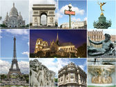 Paris collage - tourist highlights — Foto de Stock
