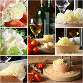 Swiss cheese collage - Tete de Moine — Stock Photo