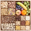 Stock Photo: Assorted cereals in wooden box with fresh fruits