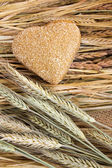 Heart shape wholewheat bread — Stock Photo