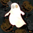 Halloween card with ghost — Imagen vectorial