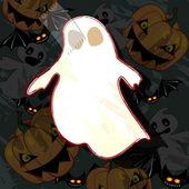 Cartão de dia das bruxas com fantasma — Vetorial Stock