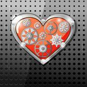 Coeur avec des engrenages — Vecteur