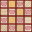 Seamless quilt texture with hearts — Stock Photo