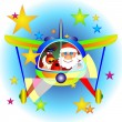 Airplane with Santa Claus and Rudolf — Stock Vector