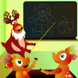 Stock Vector: Reindeer's school