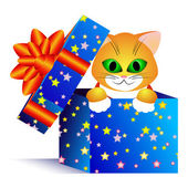 Gift and cat — Stock Vector