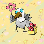 Funny bird with gift and flower — Stock Vector