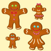 Gingerbread family — Stock Vector