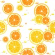 Seamless background with slices of orange — Stock Vector