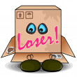 Man hiding himself inside of cardboard box with holes for eyes - Stock Vector