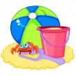 Beach ball and sand - 