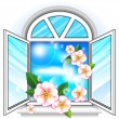 Stock Vector: Spring window