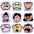 Angry doodle faces of men, women and children — Vettoriali Stock