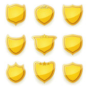 Nine golden shields — Stock Vector