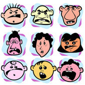 Angry doodle faces of men, women and children — Stock Vector
