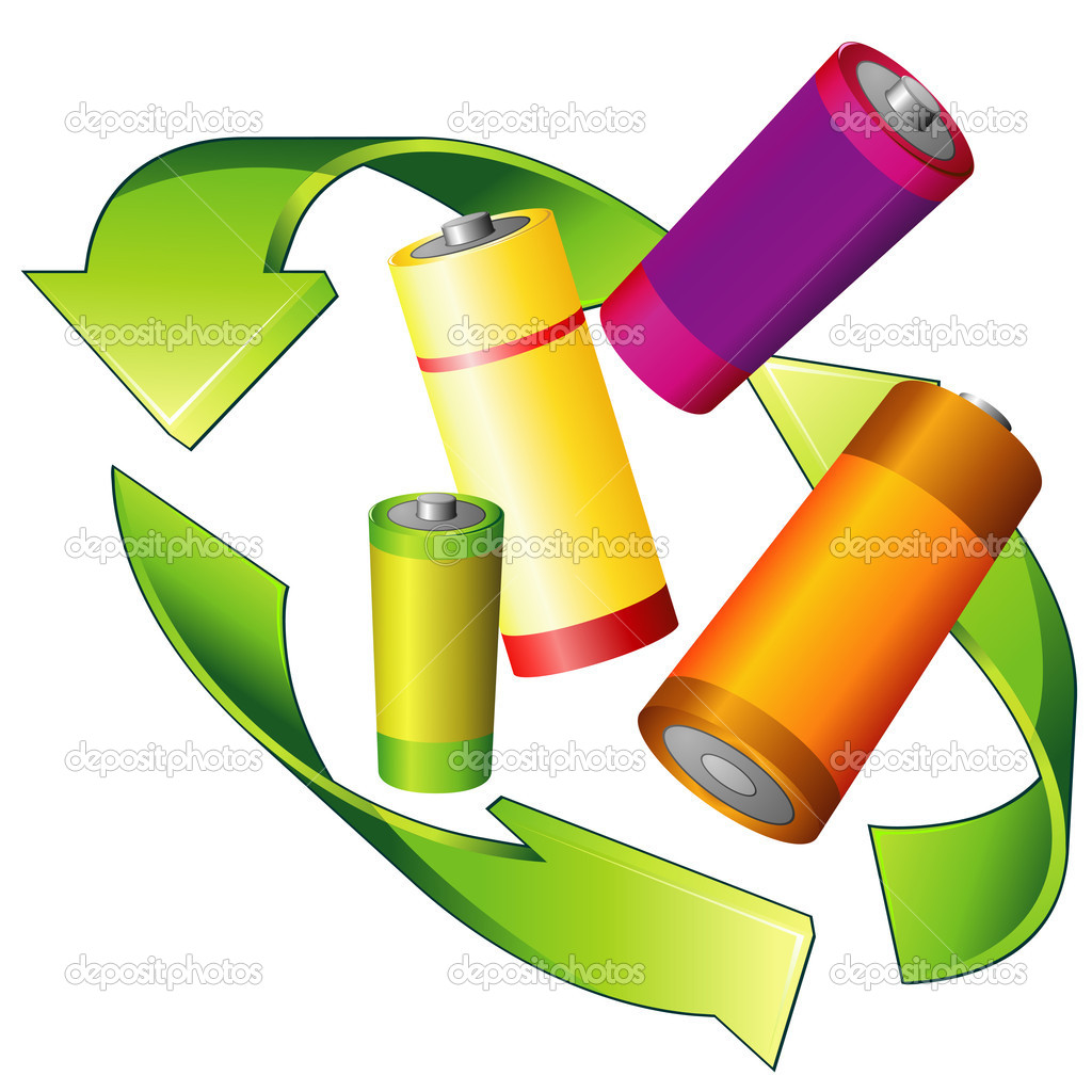 Recycle sign and four colorful batteries over white — Stock Vector #13369345