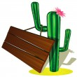 Cactus and billboard - Stock Vector