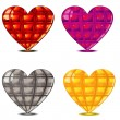 Four faceted hearts — Stock Vector