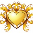 Stock Vector: Vintage golden heart