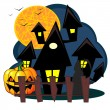 Scary house of Halloween — Stock Vector