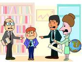 Three teachers and bad student — Stock Vector